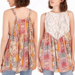 NWT Intimately by Free People Count Me In Trapeze Tunic Top Lace Floral Size M